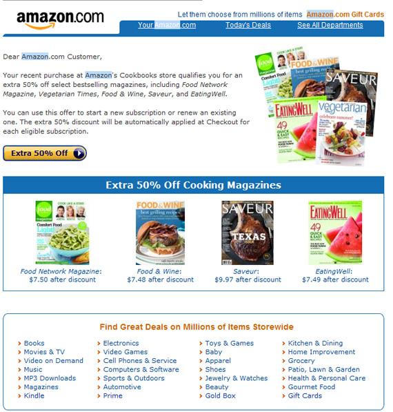 amazon email - discount