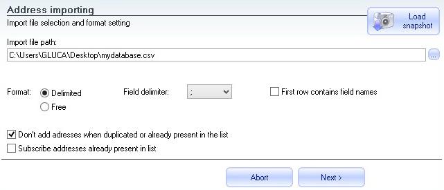 Import file options