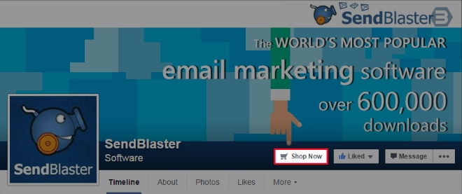 CTA Button in SendBlaster Facebook page